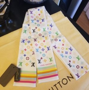 Louis Vuitton silk scarf multicolor pink white LV